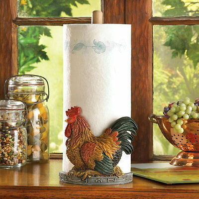 Country Rooster Paper Towel Holder Farm Farmhouse Kitchen Home Decor Gift