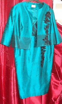 Mother of The Bride Groom Condici Emerald Green Silk Outfit Size UK 24