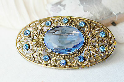 X Large Antique Brass Filigree Hauyne / Sapphire Blue Czech Paste Brooch Pin