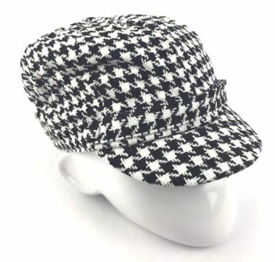 f626686d22455 Charter Club Women s Chenille Houndstooth Newsboy Hat Black   White One Size