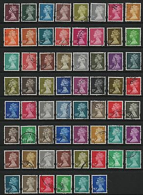 GB 1993-2012 machin definitives selection from SGY1667-1741 fine used 62 stamps