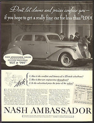 NASH Automobile APR 1936 Ambassador Original Print Ad
