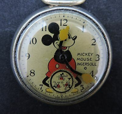 Vintage 1930's Mickey Mouse Ingersoll Pocket Watch