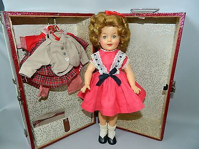 "Vintage  Ideal Vinyl 12"" Shirley Temple--With Trunk And 3 Extra Original Outfits"