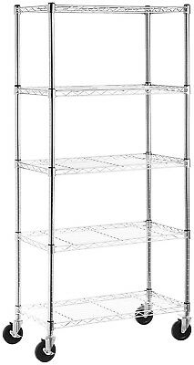 5 Shelf Chrome Steel Wire Shelving 30 by 14 by 60 Inch Storage Rack W/Wheels