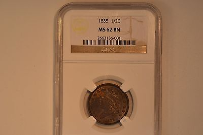 1835 Classic Head Half Cent- NGC MS-62 BN.   Very nice.