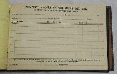 PENNSYLVANIA CONSUMERS OIL CO. receipt book / COUNCIL BLUFFS / DAVENPORT / IOWA