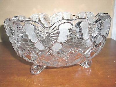 "VTG ESTATE Heavy Art Deco Style HAND CUT Crystal Vase Bowl 3 legs Footed 5""Tx8""D"