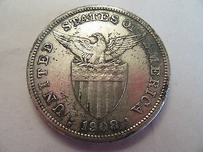 1908 S  Philippines Silver Peso, good details, heavy toning