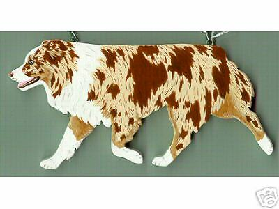 Trotting AUSTRALIAN SHEPHERD Wooden Dog PIN -red merle - Hand Crafted!