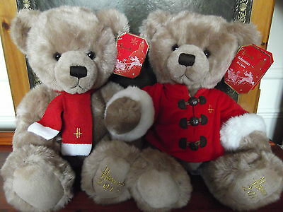 "Gorgeous Pair Of Large 13"" Harrods 2013 Exclusive Xmas Bears Bnwt Sold Out Rare"