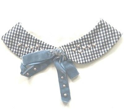 Vintage Girls Collar Navy Gingham With Pearl Trimming, Velvet Bow