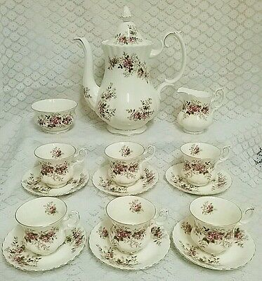 Royal Albert Lavender Rose Bone China Coffee Set for 6