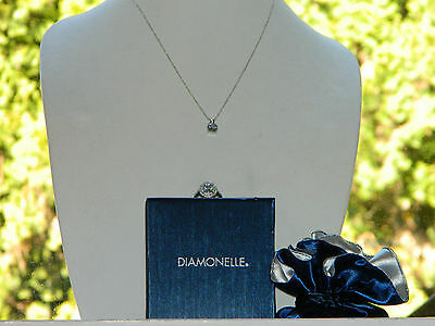 "New Sterling Silver Clear Ring & Pendant Set by ""Diamonelle"" - Better than CZ"
