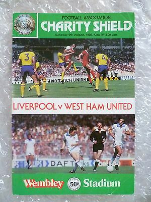 1980 Charity Shield Programme LIVERPOOL v WEST HAM UNITED, 9th Aug