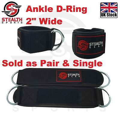 "ANKLE D RING STRAP Weightlifting 2"" WIDE Fitness gym THIGH PULL Cable attachment"
