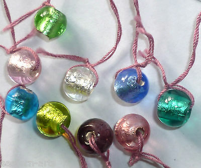 20 x Silver Foil Glass Lampwork 7 mm Various Colors Round Beads Jewellery R09