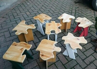 Handcrafted design 8 set puzzle Stool chair Bedroom/Nursery Furniture child kids