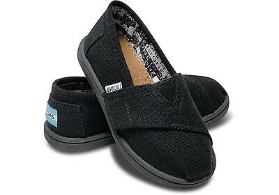 8ef2e3ebb7126c Tiny Toms Classics Black Infant Toddler Baby Boy Girl Canvas Shoes All  Sizes New