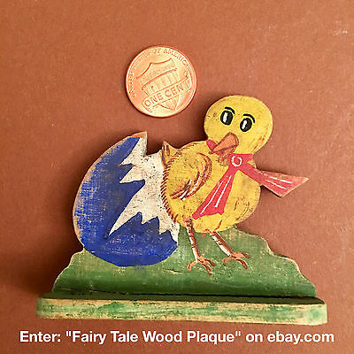 ✅ Fairy Tale Wood Plaque No 37 - Lil Chick fresh from the Egg - Easter Present