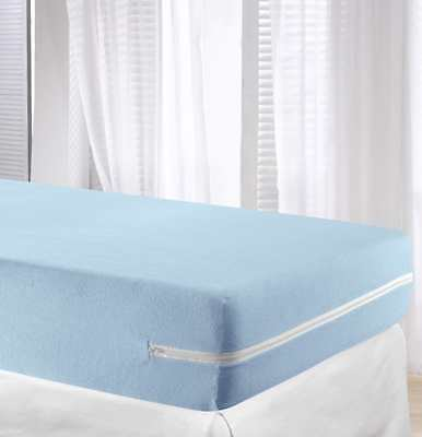 Bali Mattress Cover Bed Protector Elastic Zip Cotton Fully Enclosed Blue NEW