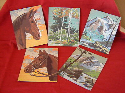 VTG SET OF 5 PAINT BY NUMBER PAINTINGS 60's LANDSCAPE & EQUESTRIAN UNFRAMED 8X10