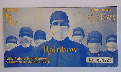 RAINBOW   Ritchie Blackmore's Rainbow TICKET     LILLE 1981