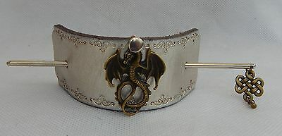 Gold & Silver Leather Dragon Barrette w/ Silver Hair Stick New Celtic Knot