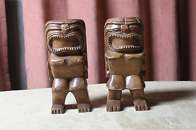 Vintage Tiki Statues Figures Handcarved Wooden Totem Pair Hawaiian Bookend Solid