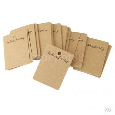 5x 100Pcs Rustic Kraft Paper Necklace Jewelry Display Packaging Hanging Card