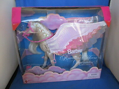 New Rare 1999 Mattel Barbie Rainbow Horse And Sprinkles Her Flying Fairy Friend