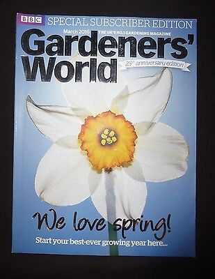 Gardeners World Mar 2016 BBC, Subscriber's Edition,Huge 25th anniversary edition