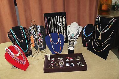 Costume jewelry Lot  24 Necklaces 21 Pr. Earrings, 4 Brooches All Wearable Vtg &