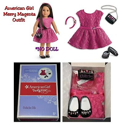 American Girl Doll Merry Magenta Pink Holiday Dress Outfit 2016 Purse Shoes NEW!