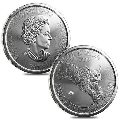 Lot of 2 - 2017 1 oz Canadian Silver Lynx Predator Series $5 Coin .9999 Fine Sil