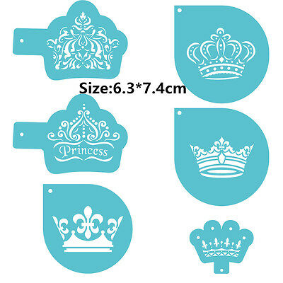 6 Pcs Packed Crowns Cookie Cake Stencil Decorate Mould Fondant Biscuit Tool