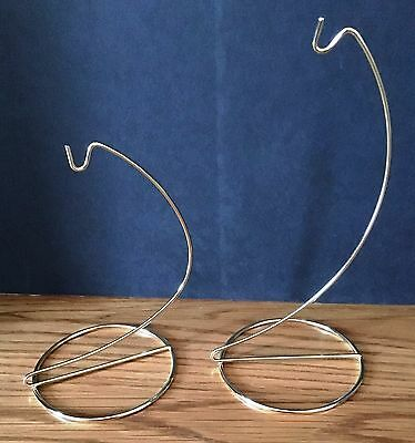 Lot of 2 Gold Brass Metal Ornament Display Stands Holders Hangers