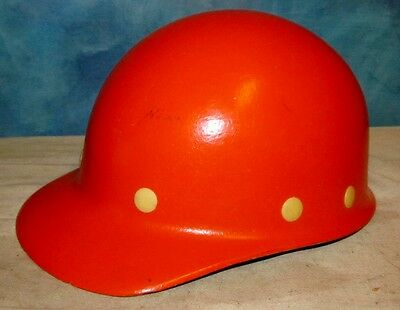 Vintage FIBRE METAL SUPERGLAS Orange Hard Hat Hardhat Miner Safety J233