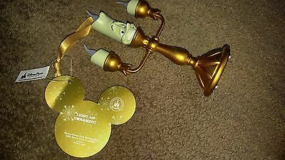 New 2016 Disney Store Beauty And The Beast Lumiere Candle Light Up Tree Ornament