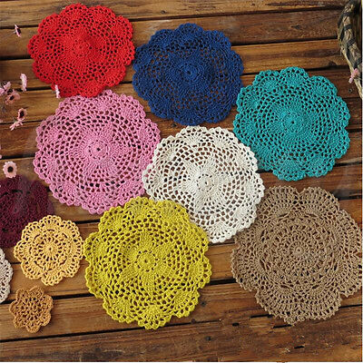 5X Handmade Crocheted Placemat Table Mat Cotton Doily Cup Kitchen Round 20cm