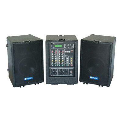 Skytec Portable Sound System PA Speakers 4-Channel Mixer Amp Mobile DJ USB 600W