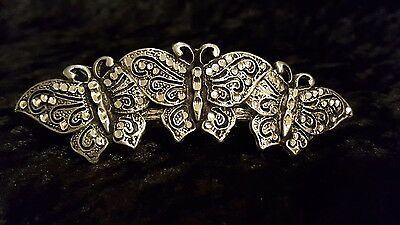 Vintage Cut Pewter Hair Clip Barrette Three Butterflies Made in France