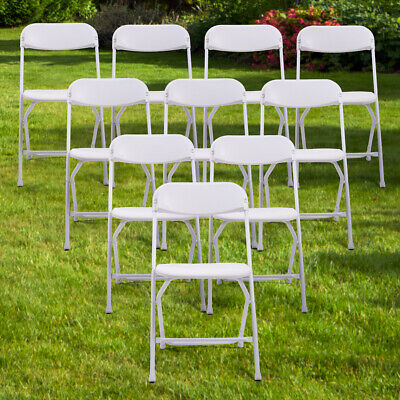 (10 PACK) Weight Capacity Commercial Quality Plastic Folding Chair White