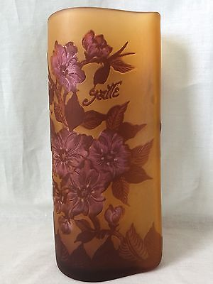 Emile Galle Cameo Glass Vase Etched Amber Pink Flowers Art Nouveau signed 9.5in