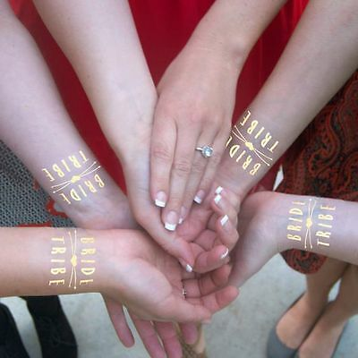 Bridal Party Hen Bachelorette Bride Tribe Ring Kitchen Tea Gold Temporary Tattoo