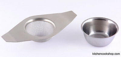 Tea Strainer Double handle with bowl s/s  Guaranteed Quality 520