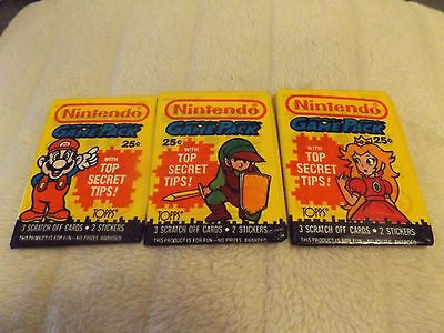 Set of 3 Nintendo Game Pack Trading Card Wax Packs 1989 Topps Super Mario Bros.