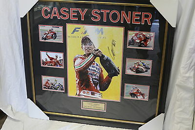 2007 Casey Stoner Moto GP Champion Signed  Framed Photo Collage with Certificate