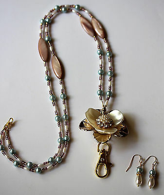 Gold and Cream Flower with Beige and Pale Blue Tones Beaded Lanyard Necklace
