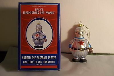 Macy's Thanksgiving Day Parade Harold The Baseball Player Glass Ornament